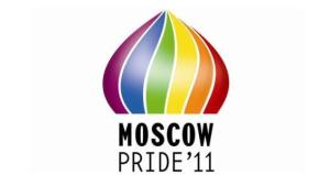 Moscow Pride 2011 Logo: Features a cupola like the one on Moscow's famous St. Basil's Cathedral, except in rainbow colors