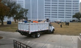 This is one at least half a dozen trucks filled with tents, tables, and other gear protesters had brought to the park